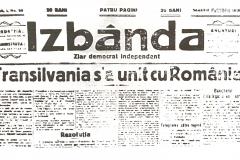 13 - Ziarul Izbânda tipărit pentru data de 5 dec. 1918